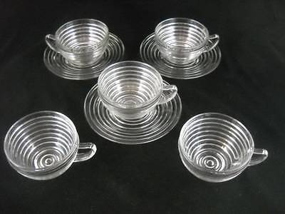 3 Anchor Hocking Manhattan Crystal Cups and Saucers with 2 Extra Cups Excellent