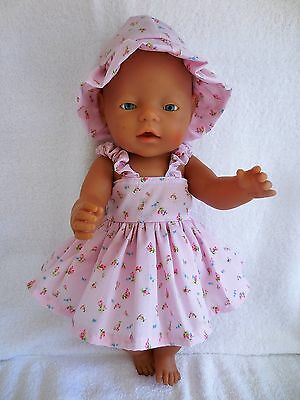"""Baby Born 17""""  Dolls Clothes Pink Summer  Outfit With Little Roses On It"""