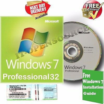 Windows 7 Professional 32bit Full Version & Format HDD DVD Disc and COA
