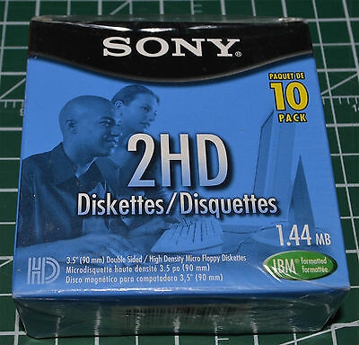 "Sony 3.5"" Micro Floppy Disk 10 Pack HD 1.44MB MFD 2 IBM Formatted Double Sided"