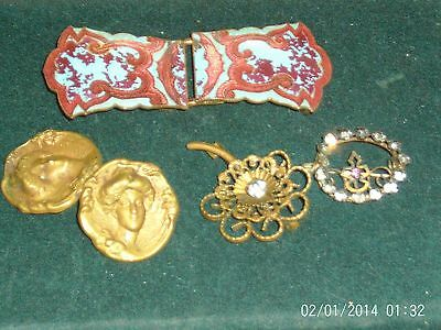 Antique Vintage Jewelry Lot Germany Buckle Art Nouveau Pin Set Glass Brooch