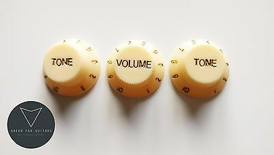 3 x Aged Cream Strat Stratocaster Electric Guitar Control Knobs Volume & Tone