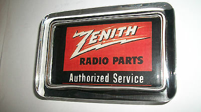 Zenith Radio Parts Service Music Red Advertising Ad Sign Logo Glass Paperweight