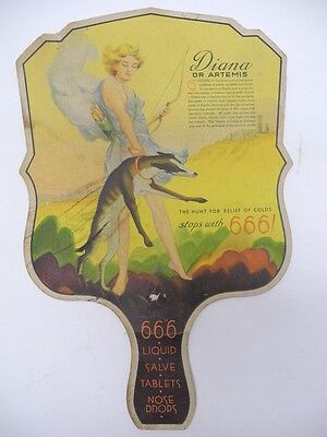 Old Vintage 666 Products Medicine Hand Fan Cardboard Advertising