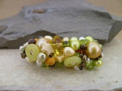 Hair jewellery barrette in mixed pearls and gemstones in autumn tones