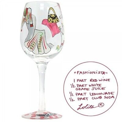 "Lolita ""Fashionista"" Wine Glass Birthday Celebration FREE POST"