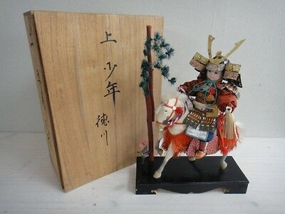 Sale Japanese Vintage Samurai Doll White Horse  Japan With Wooden Case
