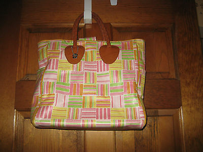 $99 Nordic House Designs Tote Purse Leather Braid Handle Multi Coated Cotton USA