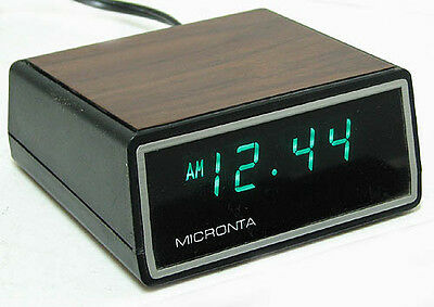 vintage MICRONTA mod. 63751 Alarm Clock FLUORESCENT Display Works Perfectly MINT