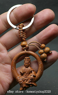 Chinese Natural Boxwood Pure Hand-carved Sit Moon Guanyin Goddess Amulet Pendant
