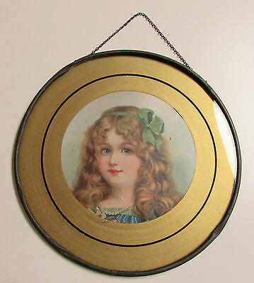 Antique Victorian Chimney Flue Cover Young Girl Green Ribbon Reverse Ptd Border