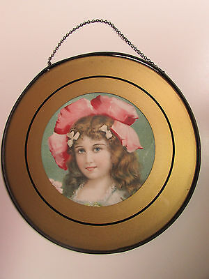 Antique Victorian Chimney Flue Cover Young Girl Pink Hat Reverse Painted Border