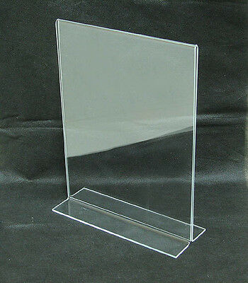 """NEW Azar  11"""" x 8-1/2"""" Vertical Double Sided Stand Up Acrylic"""