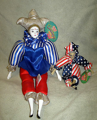 "2 New Sugar Loaf Classiques Harlequin Jester Clown 4th of July 17""& 8"" Dolls #11"