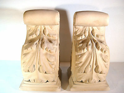 """Pair of 2 Vintage Plaster Corbels ACANTHUS LEAF AND SCROLL DESIGN 7.5"""" Height"""