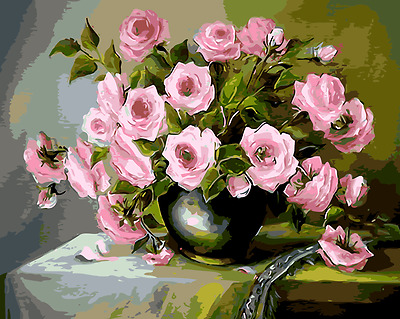 Large Paint By Number Kits S2 40*50CM DIY Pink Flowers 8054 AU STOCK