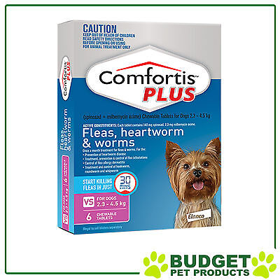 Comfortis Plus For Dogs Pink XSmall 2.3-4.5kg 6 Pack