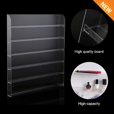 6-Tier Clear Acrylic Nail Polish Display Wall Rack Stand Organizer Holder NEW MG