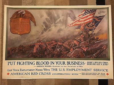 WWI Dan Smith PUT FIGHTING BLOOD IN YOUR BUSINESS Red Cross Poster 1918 - EXC