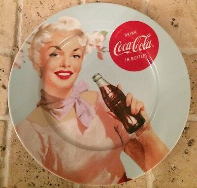 "Drink Coca Cola In Bottles Retro Girl 10"".5 Plate"