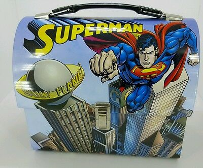 Superman Domed Tin Workman's Lunch Box. ITEM #74073