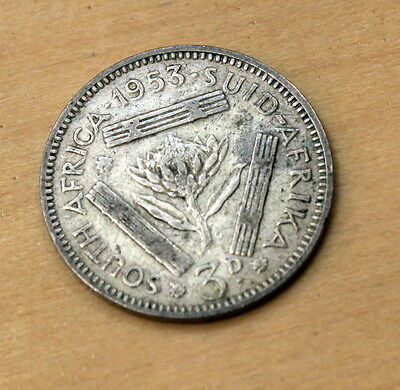 1953 South Africa 3 Pence Silver