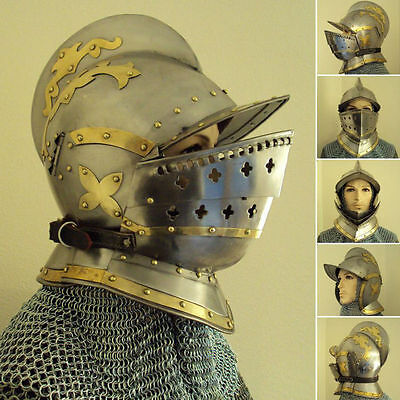Burgonet helmet medieval armour helmet with brass accents and bidding free PP