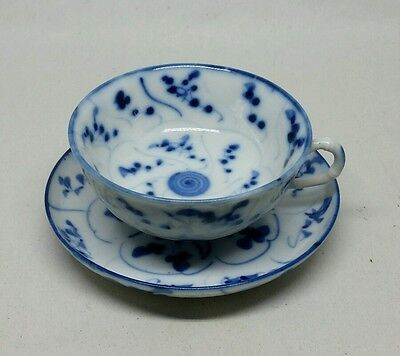 Antique Fine Blue White Porcelain Cup & Saucer Lingzhi Fungus Chinese / Meissen