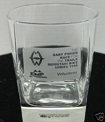 """Glass Tumbler """"The Gary Fisher Race For The Trails"""" Mountain Bike Series 1998"""