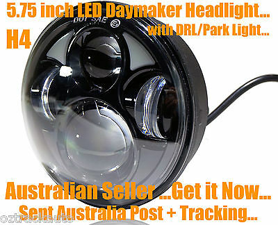 5-3/4 BLACK LED Projector Daymaker Headlight with DRL Harley ROCKER & BREAKOUT +