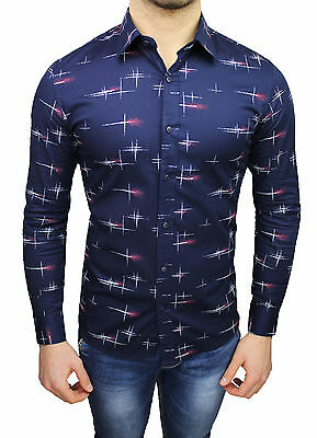 Herrenhemd Diamant Casual Blau Fantasie Kreuze Slim Fit Angepasst Strecke