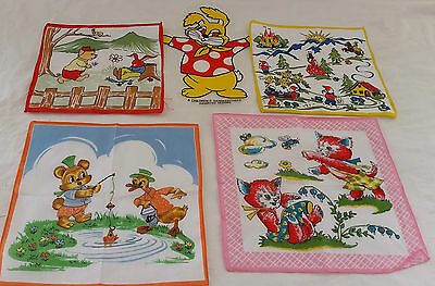 Vintage circa 1970s Set of 4 Asstd 100% Cotton Cartoon Printed Handkerchiefs #3