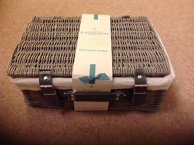 Champneys Relaxation Hamper Wicker Basket Contains 7 Items Brand New Unopened
