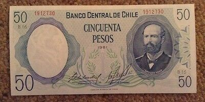 Chile Banknote. 50 Pesos. Unc. Dated 1981.