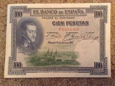 Spain Banknote. 100 Pesos. Dated 1925
