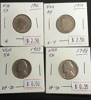USA 1902 1910 1939 1948 Liberty Head and Jefferson Nickels All Nice Coin Lot#333
