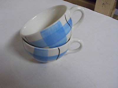 Lot Of 2 Hycroft Calico Blue Tea Cups Only Medicine Hat Alberta