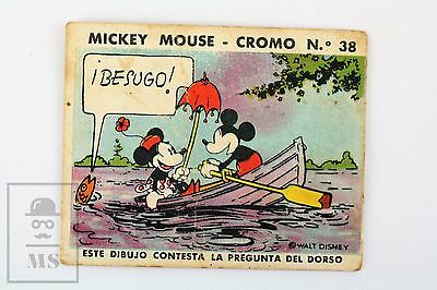 Walt Disney Old Chewing Gum Advertising Trading Card - Mickey Mouse & Minnie