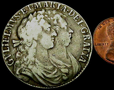 """S525: 1689 William & Mary """"Conjoined Busts"""" Large Silver Halfcrown"""