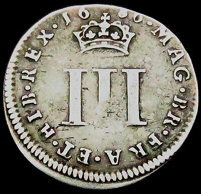 S526: 1686 James II (King who abdicated) Silver Maundy Threepence