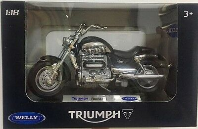 Welly 1:18 TRIUMPH Rocket III 3 Black Motorcycle Bike Model Toy New In Box