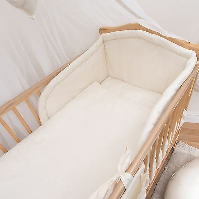 3 Piece Baby Bedding Set with Thick Bumper to fit 140x70cm Cot Bed - Plain Cream