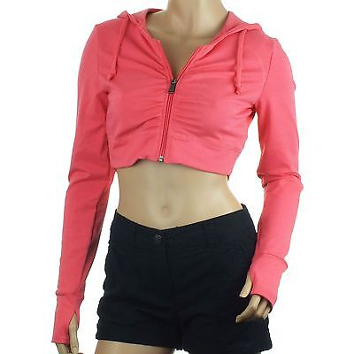 Womens Reebok Cropped Hoodie Crop Top Pink Full Zip Hoody Yoga Running XS S M