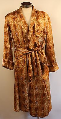 Large, Tan & Gold Paisley Satin Mens Dressingown. Made In China By Golden Bee.