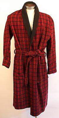 Large Size 18. Smartex Red & Black Thick Wool Mens Dressingown. Original Vintage