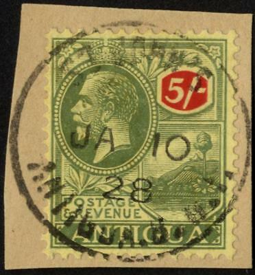 Antigua SG 60 1922 5/- green & red on pale yellow paper, St Johns CDS, JA 10 28
