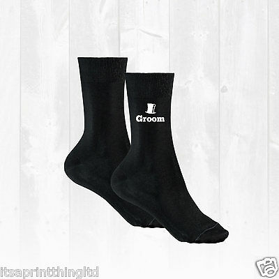 Black Cotton Socks Groom, Best Man, Usher, Father of the Bride Wedding Day Gift.
