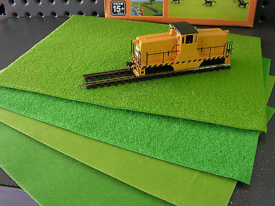 Self adhesive scenery grass mats (4). T gauge, N scale, HO scale