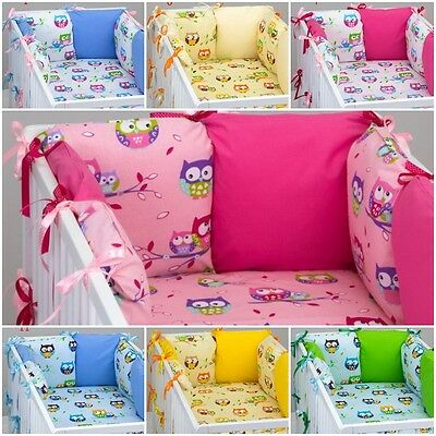 7 pcs COT / COT BED  BEDDING SET PILLOW BUMPER + FITTED SHEET OWLS PATTERN