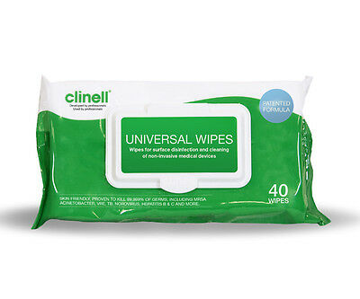 Clinell Universal Sanitising Wipes for Disinfection Pack of 40 Wipes Twin Pack